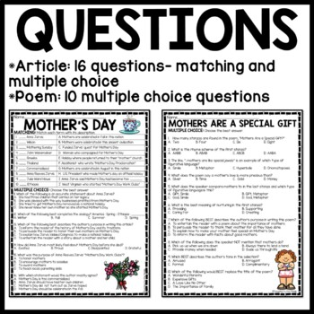 Mother's Day Reading Comprehension Worksheet, Poem, May