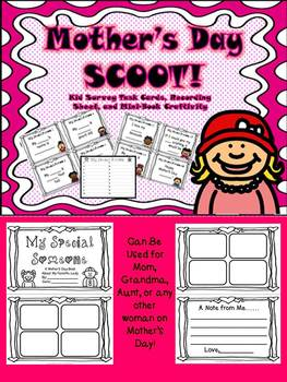 Mother's Day Scoot! Task Card Writing Activity and Mini-Book Craftivity