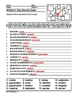 Mother's Day Secret Code and Word Search Printables