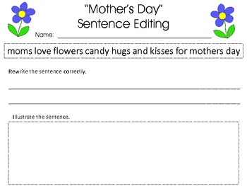 Mother's Day Sentence Editing Pack