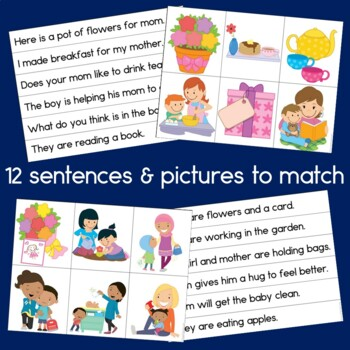 Mothers' Day Sentence Picture Match Reading Center