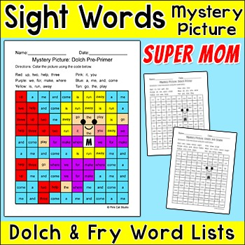 Mother's Day Activity Sight Words Mystery Picture - Superhero Mom