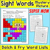Super Mom Color by Sight Words Mystery Picture Mother's Day Activity