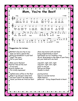 Mothers Day Song & Activities: Mom, You're the Best! MP3s & Reproducibles