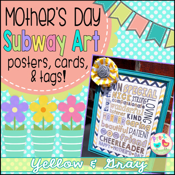 Mother's Day Card - Yellow and Gray Subway Art
