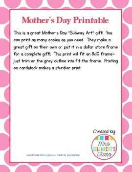"Mother's Day ""Subway Art"" Printable FREEBIE:  Makes a GREAT gift to send home!"