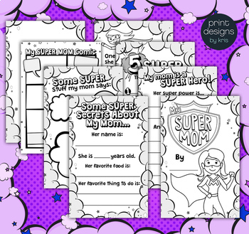 Mothers Day Super Mom Writing Activity Book - Gift for Mom