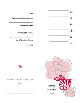 Mother's Day Synonyms & Acrostic Poem Card Activity Pack