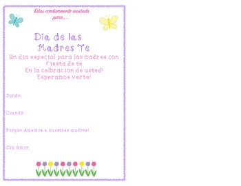 Mothers Day Tea Invite- Spanish