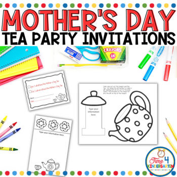 Mother S Day Tea Party Invitations By Time 4 Kindergarten Tpt