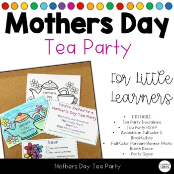Mothers Day Tea Party Invitations Rsvp Cards By Kindergarten Chaos