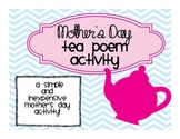Mother's Day Tea Poem Activity