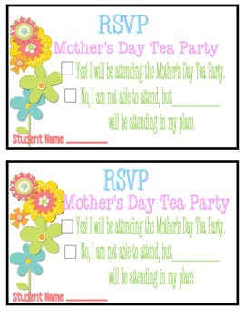 Mothers Day Tea RSVP Card