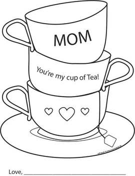 Mother's Day Tea Coloring Activity