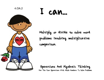 Mother's Day Theme 4th grade math Common Core Posters fourth Grade Standards
