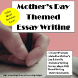 Mother's Day Theme Essay Writing, w Rubrics & Writing Process Printables