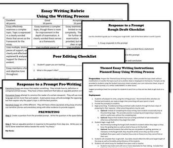 Mother's Day Theme Essay Writing, w Rubrics & Writing Process Printables