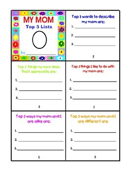 Mother's Day Top 3 Lists Mini-Book