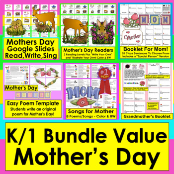 Mother's Day Activities BUNDLE Readers,Songs,Poems,Booklet + Bonus Boom Cards
