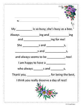 Mothers Day Poem Templates For Writing Verb Poems