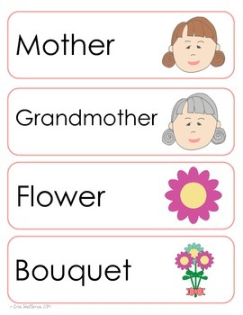 Mother's Day Vocabulary Cards and Spelling Practice
