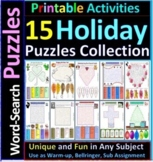 15 Holiday-Theme Word Search Puzzles; Mothers Fathers Memorial Day, Christmas...