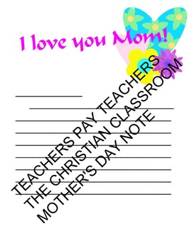 Mother's Day Wordsearch and Mother's Day letter to mom