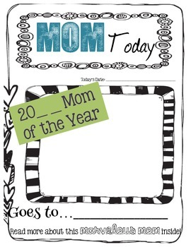"Mother's Day Writing Craftivity: ""MOM Today Newspaper"" Mom of the Year"