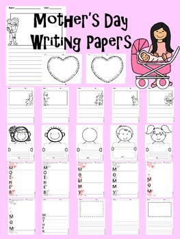 Mother's Day Writing Paper Pack for Elementary