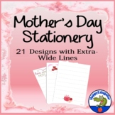 Mothers Day Writing Paper Stationery for Primary with Wide Lines - 22 Designs