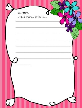 Mother's Day Writing Papers - Personal & Commercial use