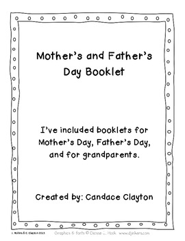 Mother's Day and Father's Day Booklet