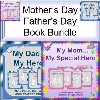 "Mother's Day and Father's Day Bundle:  Creative ""My Hero"" Books"