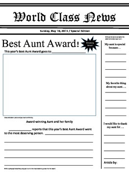 Mother's Day and Father's Day Newspaper Article Award