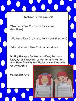 Mother's Day and Father's Day with a Grandparent's Day Alt. Craftivity