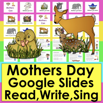 Mothers Day Google Slides Mini Book, Writing, Songs K/1 Distance Learning PDF
