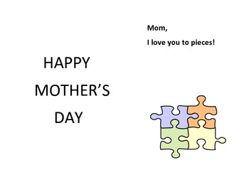 Mother's Day jigsaw card