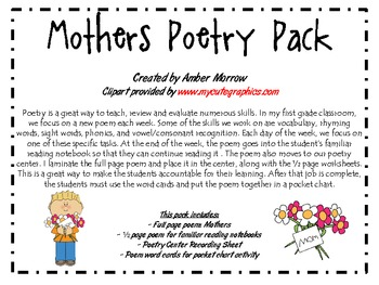 Mothers Poetry Pack