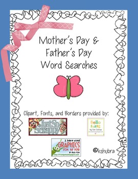 Mother's and Father's Day Word Searches