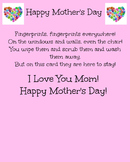 Mother's day handprint poem craft