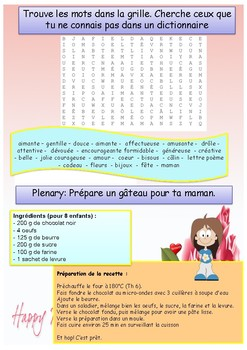 Mother's day in French booklet for beginners