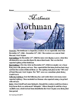 Mothman - legendary creature - history lesson facts - cryptid questions