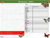 Moths Wordsearch Puzzle Sheet Keywords Animals Insects Biology