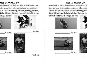 Motion $1 Warm-ups: Forces, Friction, Speed, Velocity & Acceleration