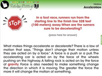 Motion: Acceleration - NOTEBOOK Gr. 5-8