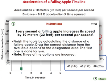 Motion: Acceleration of a Falling Apple Timeline - PC Gr. 5-8