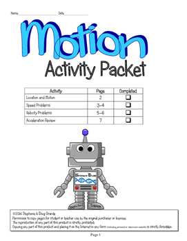 Motion Activity Packet ~ 5th, 6th, 7th, 8th, Homeschool