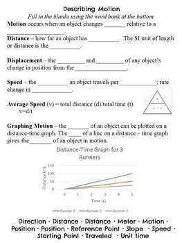 Motion *Digital for Google Classroom or Printable* Notes,Problems,Graphs,Quizzes