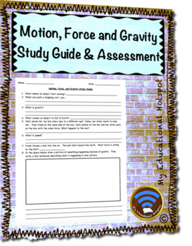 Motion, Force and Gravity Assessment and Study Guide Bundle