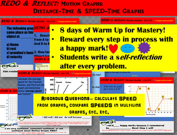 Motion Graphs-Distance & SPEED-Time-REDO & Reflect-10 days to MASTERY w Freebies